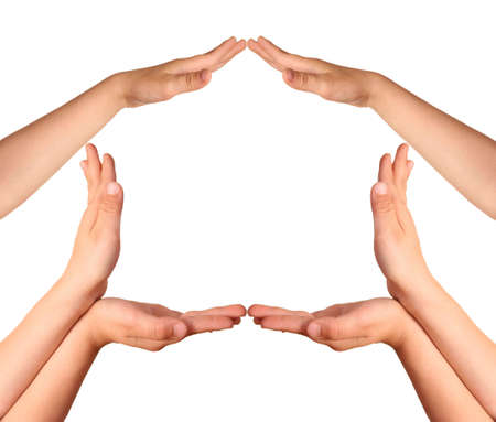 childrens hands house gesture Stock Photo - 2297426