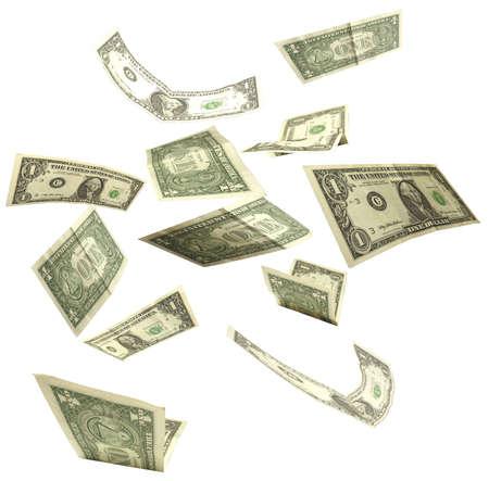 dollars fall isolated on white background 2 Stock Photo