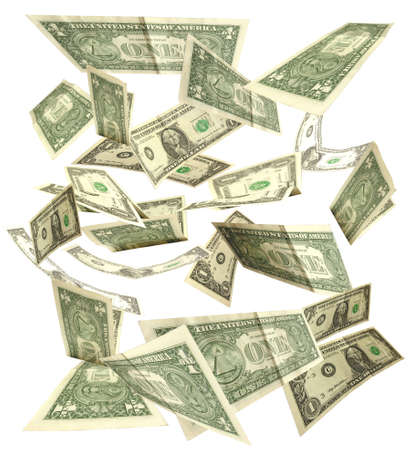 dollars fall isolated on white background 3 Stock Photo