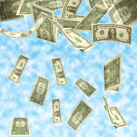 drain fly: dollars fall isolated on cloudy sky background Stock Photo