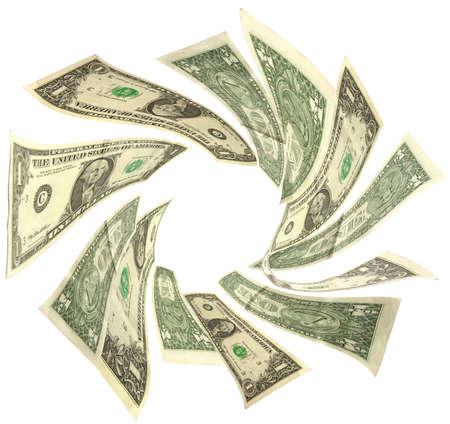 dollars vortex isolated on white background Stock Photo