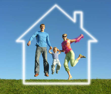 new home family: fly happy family with dream house