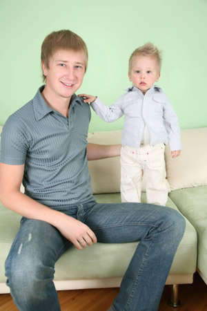 father with son on sofa Stock Photo - 2324654