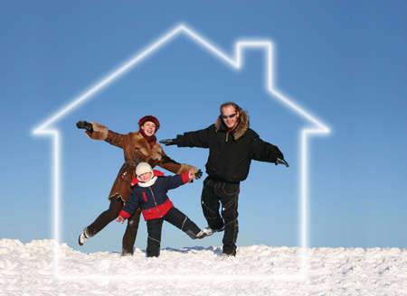 droomhuis: winter familie in droomhuis
