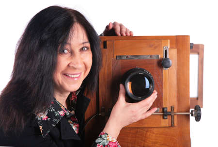 senior woman with old camera Stock Photo - 2327508