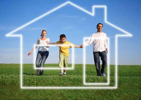 family grass sky. dream house photo