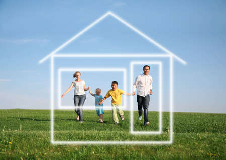 family of four running to dream house Stock Photo - 2324679