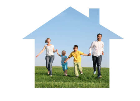 family of four running in dream house photo