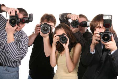 vijf fotografen Stockfoto
