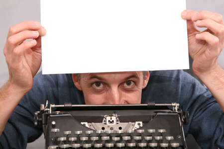 Man show blank white sheet 2 photo