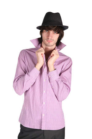 fellow: fellow in  checkered shirt and  black hat on  white