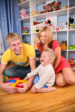 mother and father with child in playroom Stock Photo - 3014307