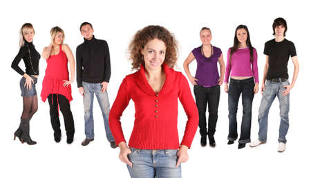 girl with friends isolated Stock Photo
