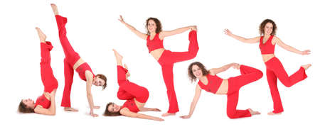 yoga woman training, group of six. seamless left to rigth photo