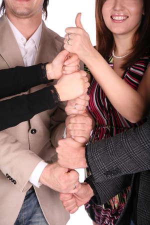 d?a: Cuatro amigos gesto da  Foto de archivo