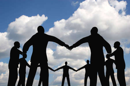 people circle group on cloud sky Stock Photo