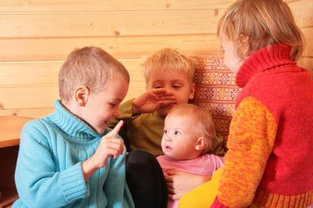 children in the wooden room Stock Photo - 3019186