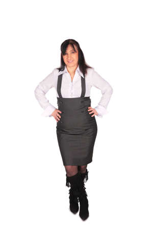 middleaged Woman in overalls posing photo
