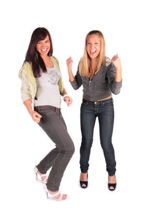 Two girl jumping, dancing Stock Photo - 3012659