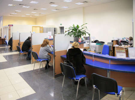 bank office: visitors in bank