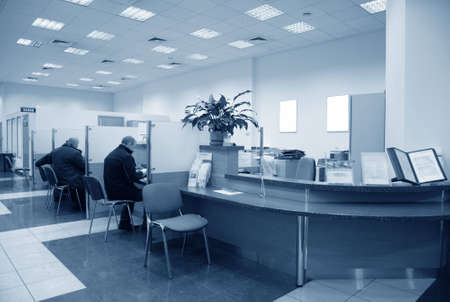 bank office: bank office blue Stock Photo