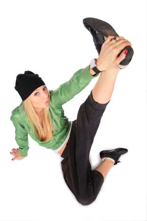 Sitting hip-hop girl leg up photo