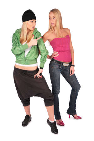 hip-hop and pretty girls posing Stock Photo - 3012511