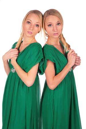 bambine gemelle: Twin ragazze back-to-back 2