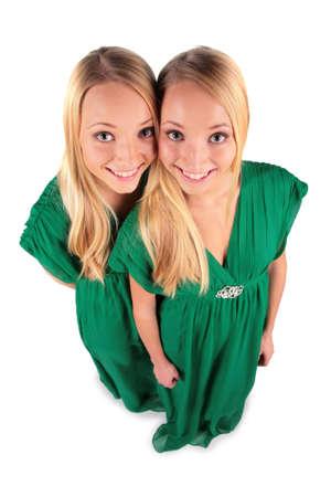 ni�as gemelas: Twin ni�as vista desde la parte superior