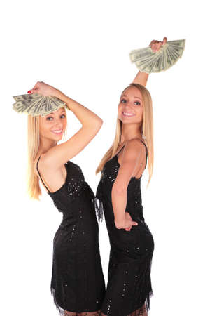 ni�as gemelas: Twin ni�as influir en D�lares  Foto de archivo