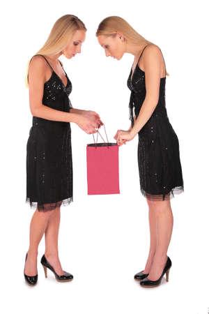 ni�as gemelas: Twin mira a las ni�as a bolsa  Foto de archivo