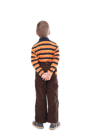 little boy from back isolated on white