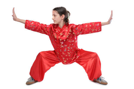 Kung fu girl low stance photo