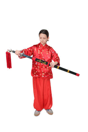 girl in red with sword photo