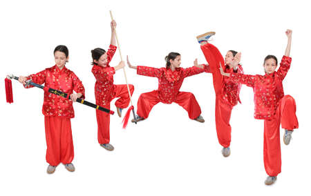 wushu girl in red group photo