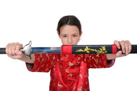 fu: Kung fu girl takes out sword