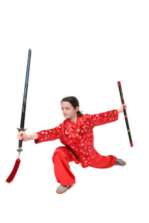 Kung fu girl sword exercise photo