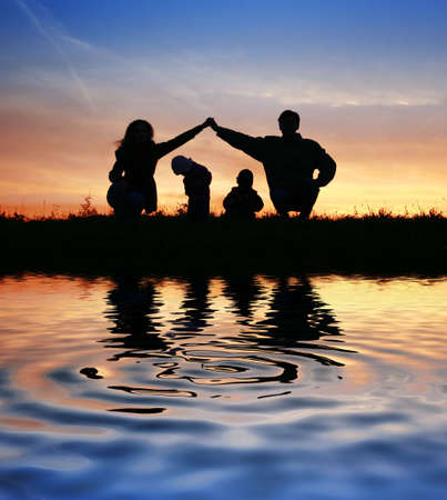 children pond: children in parents house on sky. water Stock Photo