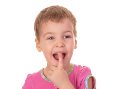 handbreadth: child with the finger in the mouth tooth Stock Photo