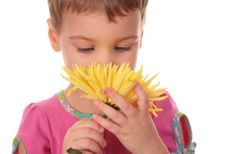 child with yellow flower