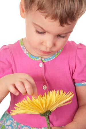handbreadth: little girl with yellow flower