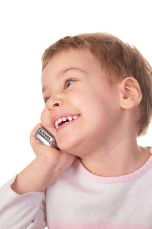 smiling girl speaks on cell phone photo