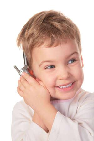 smiling girl speaks on cell phone 2 photo