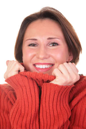 portrait of girl in red sweater 2 Stock Photo - 3023365