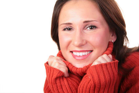 portrait of girl in red sweater 3 Stock Photo - 3023347