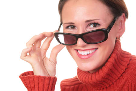 pretty woman in dark glasses and red sweater Stock Photo - 3023343
