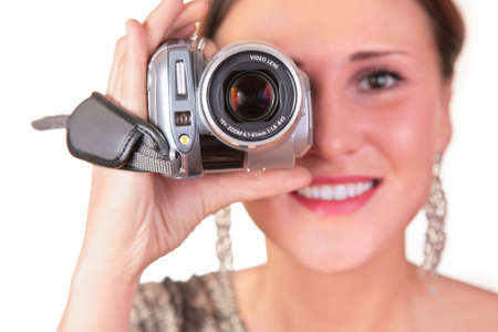 woman with video camera photo