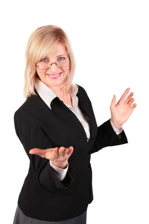 middleaged woman  makes  inviting gesture photo
