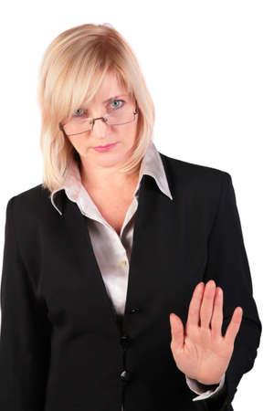 Middleaged businesswoman gives gesture  photo