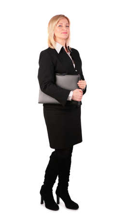 Middleaged businesswoman with black folder 2 photo